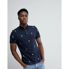 8679e5328654 Ted Baker Polo With Embroidered Birds (6.870 RUB) ❤ liked on Polyvore  featuring men s