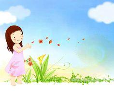 壁纸1280×1024韩国卡通小女孩插画壁纸,韩国儿童插画 ...
