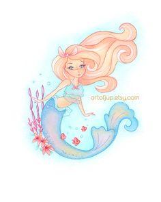 Mermaid Decor Wall Art Print By ArtofJup