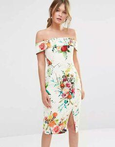 Oasis Floral Bardot Vestido justo. DRICATURCA DELUXE BRANDS