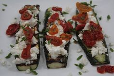 zucchini boats with goat cheese and roasted tomatoes
