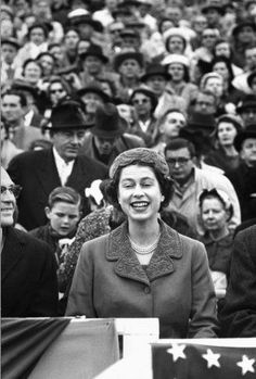 Queen Elizabeth II watches a University of Maryland vs. University of North Carolina football game at Maryland's Byrd Stadium during her 1957 official visit to the United States. Click here to see the full collection at LIFE.com…