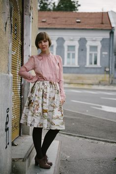 full horse print skirt with a blush blouse and brown oxford heels