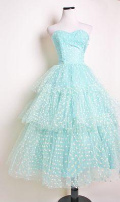 Aqua strapless 1950s Bombshell Wedding Dress with White Polka Dots / 1950s wedding dress / Wedding / Blue / Prom / Dress / Dresses / 1136. $245.00, via Etsy.