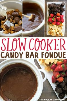 up leftover candy with this Slow Cooker Candy Bar Fondue! Great with pound cake, strawberries and apples!Use up leftover candy with this Slow Cooker Candy Bar Fondue! Great with pound cake, strawberries and apples! Crock Pot Desserts, Slow Cooker Desserts, Slow Cooker Recipes, Crockpot Recipes, Delicious Desserts, Dessert Recipes, Dessert Dips, Cheesecake Recipes, Crockpot Fondue