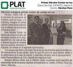 Kärcher: Apertura de primer centro de ventas en Ica en el diario Del País de Perú (24/04/15)