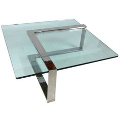 Geometric Chrome & Glass Cantilvered Coffee Table
