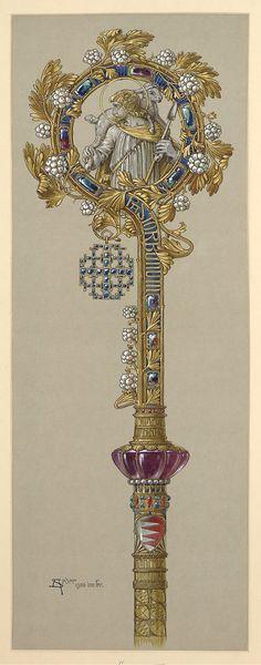Entwurf zum Äbtissinnenstab für Stift Heiligengrabe (Pastoral Staff) by Anton Seder
