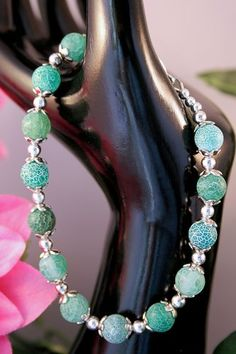 'Green Fire Agate Bracelet Set $8' is going up for auction at  4pm Mon, Jul 8 with a starting bid of $8.