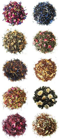 Loose leaf teas Idea of ingredients, how beautiful it look in a pile. Loose leaf teas Idea of ingre Pu Erh, Cuppa Tea, Flower Tea, Tea Art, Tea Blends, Loose Leaf Tea, My Tea, Kefir, Tea Recipes