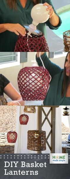 Turn existing woven baskets into new lanterns with these simple step-by-step instructions. It is easier than you think to upcycle basket you already have in to new light fixtures. Simple Tv, Home Made Simple, Make It Simple, Basket Lighting, Diy Pendant Light, Diy Light Fixtures, Woven Baskets, Backyard Lighting, Light Project