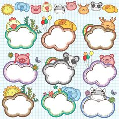 Animal Cloud Frames Set a€¢ Vector file. It can be scaled to any sizes withou , Promotional Stickers, Birthday Charts, Bujo Doodles, Drawing Frames, Cartoon Photo, Beautiful Rangoli Designs, Frame Template, Christmas Drawing, Diy Stickers