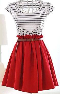 gotta love a cute striped shirt with a skirt