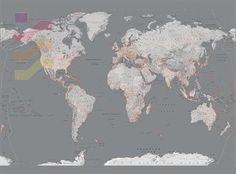 Mapa Świata Silver - fototapeta