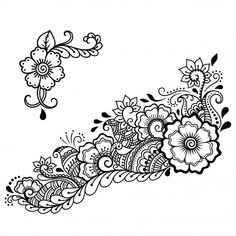 Estilo Mehndi, Floral Embroidery Patterns, Henna Patterns, Flower Patterns, Flower Pattern Drawing, Flower Art Drawing, Henna Mandala, Henna Art, Mandala Tattoo