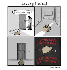 Leaving the dog VS leaving the cat - The Oatmeal Cat Sitter, Cat Comics, Stuck In My Head, Hit The Floors, How To Make Comics, Old Friends, Comic Strips, Twitter Sign Up, Funny Memes