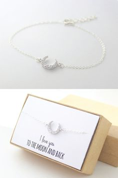 Silver Crescent Moon Bracelet - Tiny Moon Bracelet - Delicate Half Moon - I love you to the moon and back - Mother of the Bride Gift