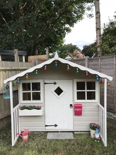 Childrens Wooden Playhouse, Painted Playhouse, Playhouse Interior, Painted Shed, Garden Playhouse, Build A Playhouse, Playhouse Outdoor, Playhouse Decor, Gardens
