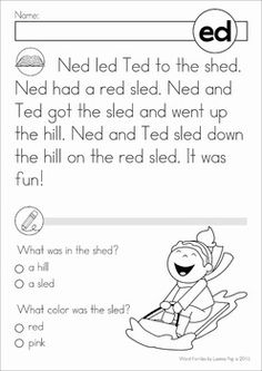 Word Family Word Work Unit - ED. A page from the unit: reading comprehension