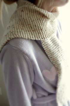 "knitted scarf made from sugar and cream cotton yarn ""Sonoma"" using only the knit stitch @ the stitch pattern"