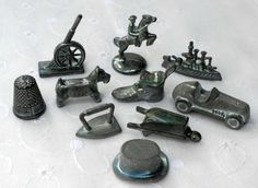 vintage monopoly game pieces, 1970's monopoly game tokens, including iron