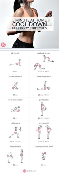 Stretch and relax your entire body with this 5 minute routine. Cool down exercises to increase muscle control, flexibility and range of motion. Have fun! http://www.spotebi.com/workout-routines/5-minute-full-body-cool-down-exercises/: