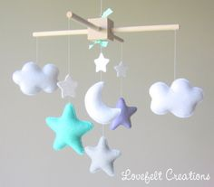 baby mobile cloud mobile mint lilac Mobile by lovefeltmobiles Cloud Mobile, Felt Mobile, Baby Mobile, Baby Boy Rooms, Baby Bedroom, Baby Room Decor, Felt Kids, Baby Owls, Baby Crafts