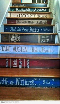 What a cute idea for a staircase for some people! How inspiring to see great authors and books if you aspire to do the same!