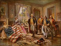 Betsy Ross presenting the first US flag to George Washington and his followers. 1776