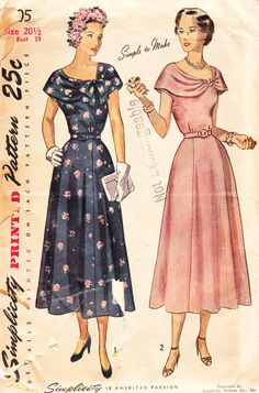 Vintage 1940s Bertha Collar Dress For Misses and Women - Simplicity Sewing Pattern No. 2905 - 39 Bust - Half Size. $20.00, via Etsy.