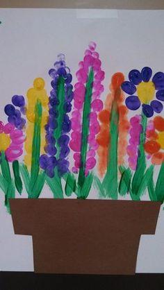 Fingerprint Flower Gardens Easter Crafts For Kids, Preschool Crafts, Easter Ideas, Spring Craft Preschool, Spring Crafts For Preschoolers, Flower Crafts Kids, Garden Crafts For Kids, Garden Kids, Bunny Crafts
