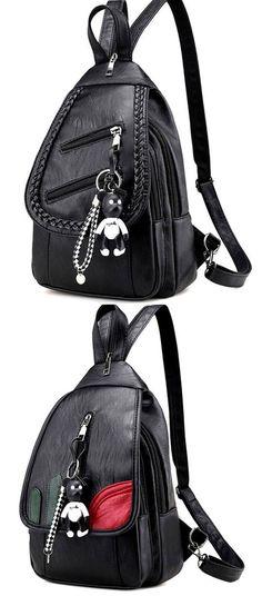 36e66f070e36f Leisure PU Black Weave Bag Small Multi-function Shoulder Bag Woven Backpack  for big sale