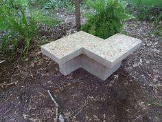 Chevron Inspired Concrete Garden Bench