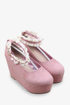 Lace D'orsay Wedges In Pink