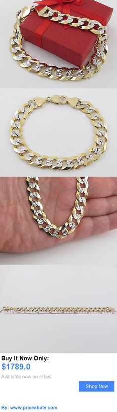 Men Jewelry: 14 K Solid Yellow And White Gold Curb Cuban Link Mens Bracelet 9 40.4 Grams BUY IT NOW ONLY: $1789.0 #priceabateMenJewelry OR #priceabate