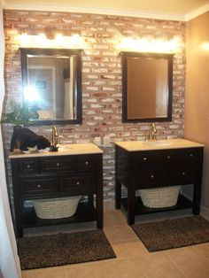 Two Single Vanities Were Used To Give The Owners A Double Vanity Area Without The Bulk Of A