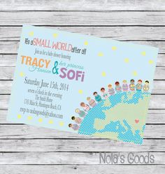 It's a Small World Baby shower Invitation Adoption by nolasgoods