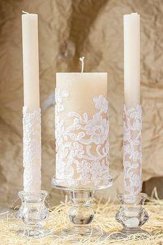 Caramel & lace wedding unity candles, rustic chic wedding, vintage chic, rustic wedding ideas, country wedding, vintage candle set, 3pcs