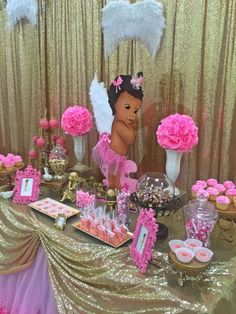 Pink and gold angel baby shower party! See more party planning ideas at… Distintivos Baby Shower, Angel Baby Shower, Bebe Shower, Baby Girl Shower Themes, Gold Baby Showers, Baby Shower Gender Reveal, Baby Shower Cakes, Shower Party, Baby Shower Parties
