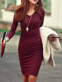 8777edcc55f V neck Women Daily Casual Long Sleeve Cable Plain Dress