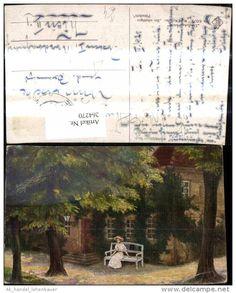 264270,Künstler Ak W. H. Kraetke Ein schattiges Plätzchen Frau a. Bank Haus Garten