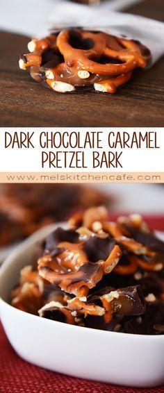 Dark Chocolate Sea Salt Caramel Pretzel Bark treats