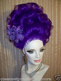 High Cone Beehive Cascading Curls Long Drag Womens Mens U