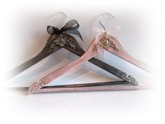 Silver Grey and Blush Wedding Hangers Bridal Groom Hangers Personalized Hangers Rustic Wedding Hangers Wedding Name Hangers by VintageShabbyRustick on Etsy