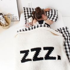Sweet ZZZs or cozy story time under my soft chunky knitted crib size ZZZ. blanket! SIZE: approx. 32 x 36 This blanket will take about 8 weeks to
