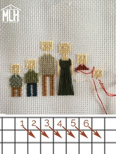 More Like Home: Cross-Stitch Family Portrait Tutorial Cross Stitch Family, Cross Stitch House, Cute Cross Stitch, Cross Stitch Fabric, Cross Stitching, Cross Stitch Embroidery, Family Trees, Running Stitch, Building Plans
