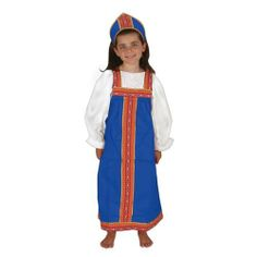 Russian Girl Outfit by None. $34.95. Comes with information cards. 3 - 5 years old. 3 - 5 years. Dramatic play just got more exciting! This Russian girl outfit can enhance and support multicultural education. Comes with information cards describing the fabric, its country of origin, and suggested activities to help children learn about cultural differences and similarities. White shirt not included.  Machine washable.