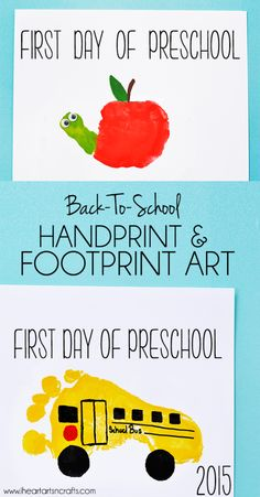 Handprint Apple and Footprint Bus Back To School Keepsakes ♥ handprint & footprint art, don't yo Preschool Projects, Daycare Crafts, Classroom Crafts, Preschool Art, Daycare Rooms, Apple Preschool Crafts, Preschool Transportation Crafts, Apple Crafts, Fruit Crafts