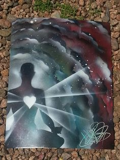 Meditative heart chakra energy universe cosmic spray paint art