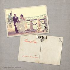 Vintage Wedding Thank You Postcards  The Narissa Via Etsy  My